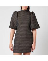 Ganni Slub Suiting Mini Dress - Black
