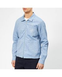 YMC Emboidered Bowie Shirt - Blue