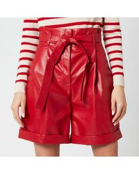 Philosophy Di Lorenzo Serafini Faux Leather Shorts With Bow Belt - Red