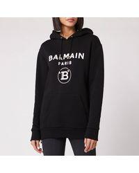 Balmain Flocked Logo Hoodie - Black