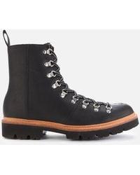 Grenson Brady Leather Hiking Style Boots - Black