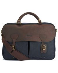 Barbour Men's Wax Leather Briefcase - Blue