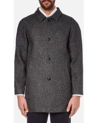 Folk Men's Clean Car Buttoned Overcoat - Gray