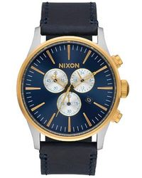 Nixon - The Sentry Chrono Leather Watch - Lyst