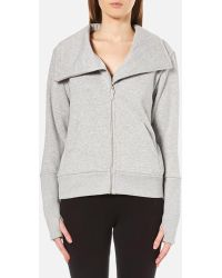 UGG Women's Pauline Double Knit Fleece Cowl Neck Zip Through Jacket - Gray