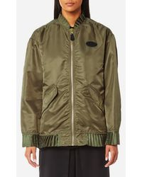 MM6 by Maison Martin Margiela Women's Nylon Bomber Jacket With Frill Detail - Green