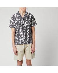 Folk Tile Print Vacation Shirt - Grey