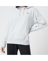 Champion Small Script Hooded Sweatshirt - Grey