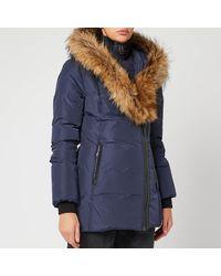 Mackage Adali Down Coat With Signature Natural Fur Collar In Navy - Women - Blue