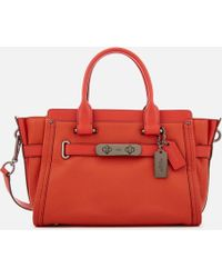 COACH Swagger 27 Tote Bag - Red