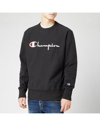 Champion Black Cotton Reverse Weave Logo Crewneck Sweatshirt