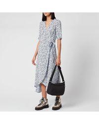 Ganni Leaf Print Crepe Wrap Dress - Blue