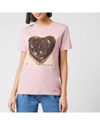 COACH X Richard Bernstein Black Jello Heart T-shirt - Pink