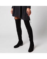 Stuart Weitzman Midland Suede Over The Knee Heeled Boots - Black
