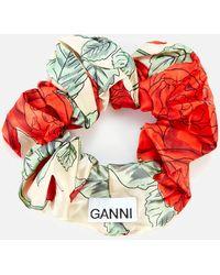 Ganni Rose Print Silk Scrunchie - Multicolor