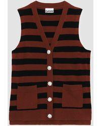 Ganni Cashmere Knitted Sleeveless Waistcoat - Brown