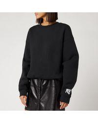 Alexander Wang Dense Fleece Bubble Crew Neck Sweatshirt With Puff Paint Print - Black