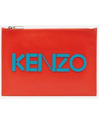 KENZO Leather Logo A4 Pouch - Red