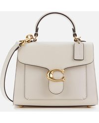 COACH Mixed Leather Tabby Top Handle 20 Bag - White