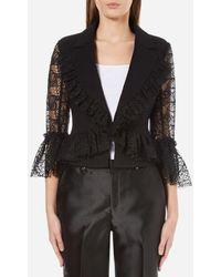 Three Floor Women's Cristobel Slim Fit Tailored Style Lace Sleeve Jacket - Black