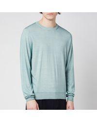 Canali Cotton Crewneck Long Sleeve Top - Green