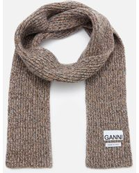 Ganni Block Colour Knitted Recycled Wool Scarf - Grey