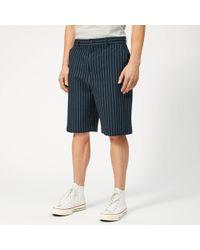 Maison Kitsuné Stripes Seersucker Stan Bermuda Shorts - Blue