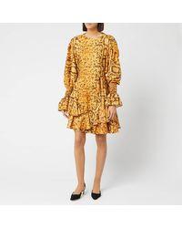 Preen By Thornton Bregazzi Womens Orange Lupita Flared Snake Print Dress