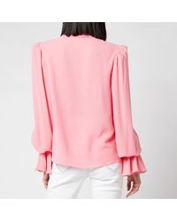 Balmain Georgette Shirt With Smocked Cuffs - Pink