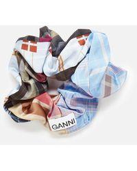 Ganni Silk Stretch Satin Scrunchie - Blue