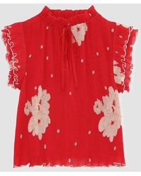 Ganni Pleated Georgette Top - Red
