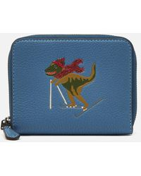 COACH Small Zip Around Wallet With Rexy - Blue