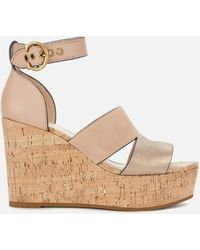 COACH Isla Metallic/cork Wedged Sandals - Multicolor