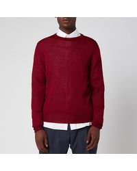 Canali Long Sleeve Crew Neck Sweater - Red
