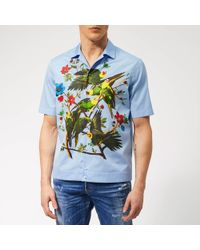 DSquared² Popeline Bowling Shirt - Blue