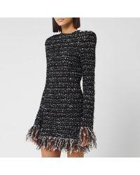Balmain Short Dark Pastel Tweed Dress - Black