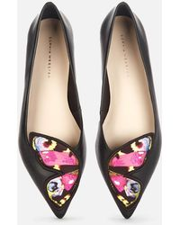 Sophia Webster Butterfly Embroidery Pointed Flats - Black
