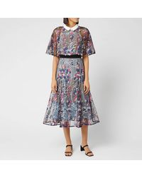 Self-Portrait Floral-embroidered Layered Midi Dress - Black