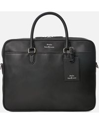 Polo Ralph Lauren Smooth Leather Commuter Business Case - Black