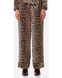 Ganni - Women's Fayette Silk Trousers - Lyst