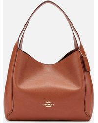 COACH Polished Pebble Leather Hadley Hobo Bag - Brown
