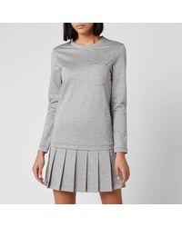 Thom Browne Drop Waist Pleated Bottom Dress - Gray