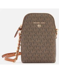 MICHAEL Michael Kors Jet Set Charm Small Chain Phone Cross Body Bag - Brown