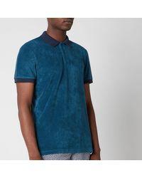 Orlebar Brown Jarrett Towelling Contrast Rib Collar Polo Shirt - Blue