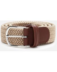 Andersons Polished Silver Buckle Woven Belt - Natural