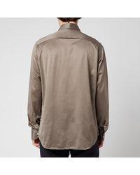 Canali Cotton Jersey Cut Away Shirt - Grey