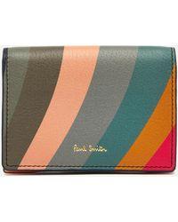 Paul Smith Contrast Swirl Stripe Leather Cardholder - Multicolor