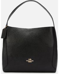 COACH Polished Pebble Leather Hadley Hobo Bag - Black