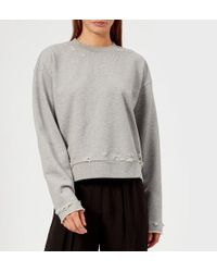 T By Alexander Wang - Women's Dry French Terry Distressed Sweatshirt - Lyst