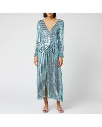 RIXO London - Emmy Diagonal Sequin Stripe Dress - Lyst
